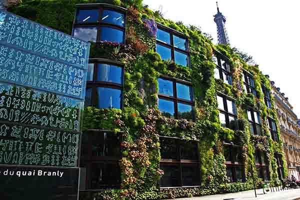موزه برنلی پاریس دیوار سبز ,نمای شیشه ای