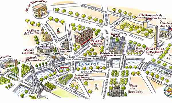 نقشه توريستي پاريس,مهمترين مراكز خريد پاريس ,شانره ليزه ,گالري لافايت ,لادفانس ,ريوولي ,مونپارناس